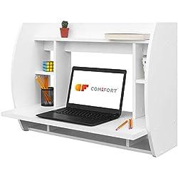 COMIFORT T07B - Escritorio de Pared Mesas Ordenador Colgantes 82x39x60 cm Color Blanco