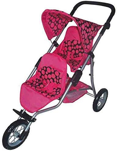 A.B.Gee Doppio Decker Tre Ruote Passeggino per Bambole in Rosa Design a Pois