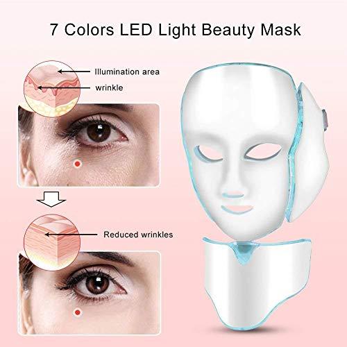 7 couleurs LED masque facial de traitement de la lumière avec Cou, rajeunissement beauté de masque facial, soin visage anti-rides anti-acné ... 25