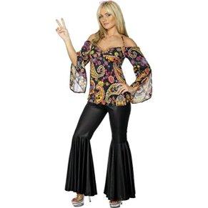NET TOYS Disfraz años 70 Hippie para Mujer Vestido Cultura pacifista Flower Power