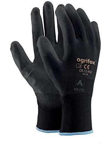 24 paia di guanti da lavoro in nylon nero rivestito in poliuretano. Giardinaggio, costruttori,...