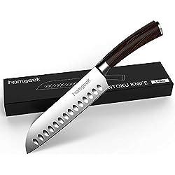 Coltello Santoku Professionale di Acciaio Inox homgeek Coltello da Cucina 17cm con Impugnatura Ergonomica Antiscivolo