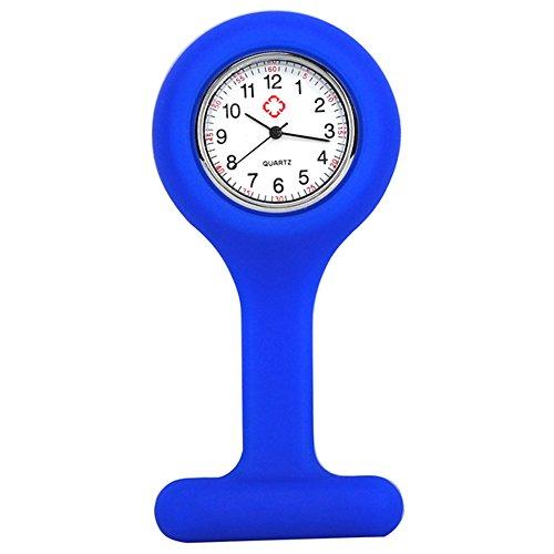 TRIXES Orologio da infermiere in silicone con spilla - orologio tascabile blu scuro