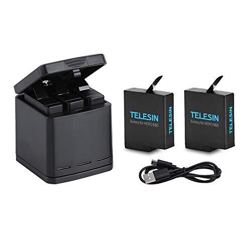 TELESIN Caricabatteria tripla e scatola di immagazzinaggio di batteria con caricabatteria a 3 canali con 2 batterie ricaricabili agli ioni di litio per Gopro Hero 6 Black, Hero 5 Black