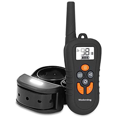 Wodondog Collar De Adiestramiento para Perros Impermeable Collar de Entrenamiento inalámbrico Recargable con Control Remoto de hasta 550 Yardas
