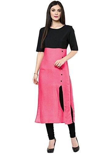 Vatsla Enterprise Women's Cotton Kurti (VFBAwester_Pink and Black_f)