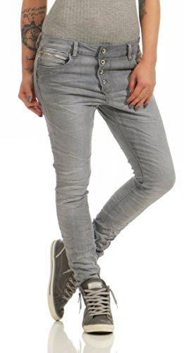 Lexxury Jeans Grau mit Knopfleiste