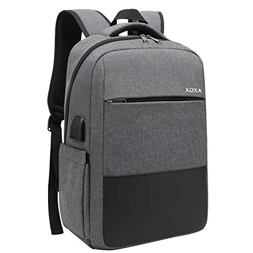 XQXA Unisex Waterproof Laptop Backpack up to 15.6 Inches, with USB Port, Headphone Jack and Anti-Theft Pocket.  for Study, Travel or Work - Gray