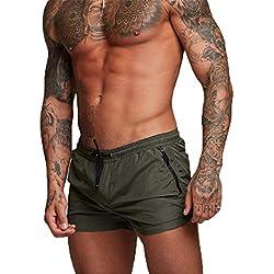 Kfnire Bañadores de natación, Pantalones Cortos de los Hombres de Secado rápido Playa Surf Corriendo Pantalones Cortos de natación Boxeadores Ligero Shorts (EU XL=Tag XXL, Verde)