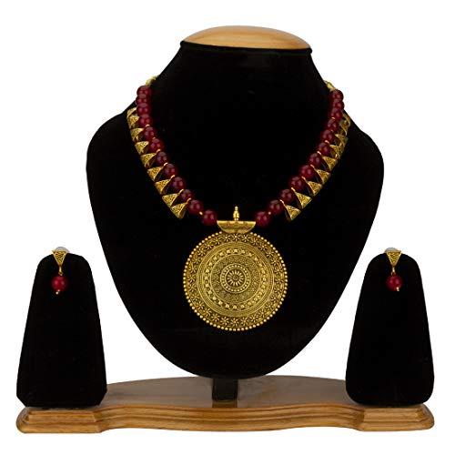 Jewels Galaxy Jewellery Set for Women (Maroon) (CT-NCK-44002)