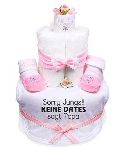 Trend Mama Windeltorte Mädchen Baby Haarband + Babysocken mit Glitzer+ Lätzchen mit Print -Sorry Jungs!! Keine Dates sagt Papa