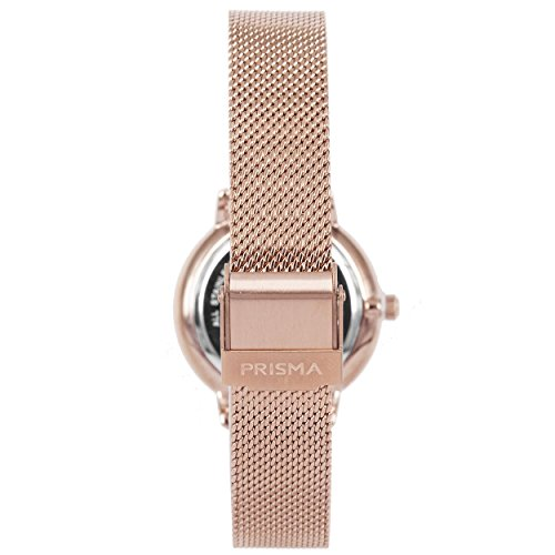 Prisma Damen Armbanduhr Retro Corum, Edelstahl rosegold mit Analog Quarzwerk, 5 ATM und Saphirglas P.1443 - 3