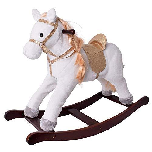 te-trend animale a dondolo cavallo a dondolo cavallo horse BIANCO GLITTER Sella Briglie STRUTTURA LEGNO MASSELLO MARRONE