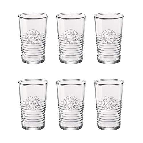 Bormioli Rocco Officina 1825 Highball Occhiali Set - Italiano Tagliare Il Vetro Bicchieri da Cocktail Vintage - 475ml - Confezione da 6