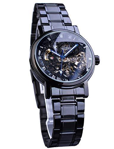 Winner, orologio da polso automatico da uomo, quadrante scheletrato, lancette blu, movimento meccanico trasparente, orologio da uomo in acciaio inox nero