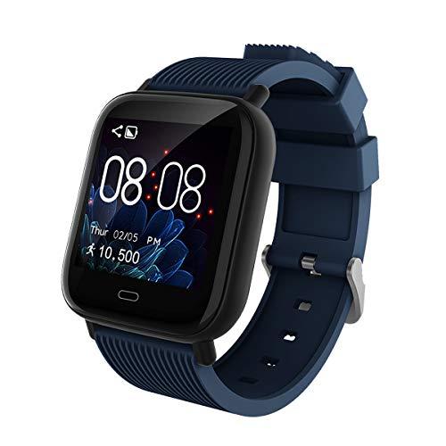 Smartwatch Donna Uomo Fitness tracker Sportivo Impermeabile Orologio Intelligente IP67 Monitor del Sonno Contapassi Contacalorie della Frequenza Cardiaca Compatibile con IOS Android (Blu scuro)