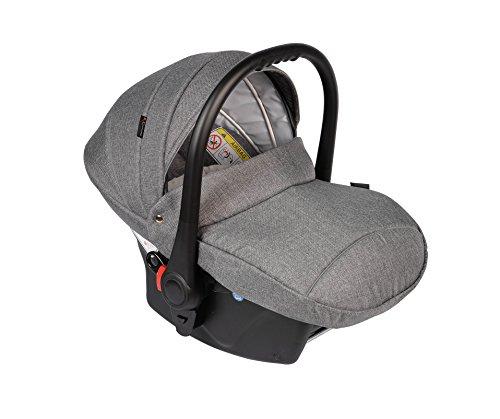 Clamaro \'JUNO black\' Auto Babyschale ultraleicht 2,95 kg mit Anti-Shock Schaumstoff, Gruppe 0+ (0-13 kg) ECE-R 44/04 - Baby Autositz inkl. Sonnenverdeck und Fußabdeckung - Dunkelgrau Leinen