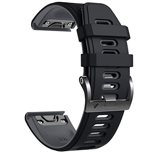 NotoCity Cinturino per Garmin Fenix 5/Fenix 5 Plus/Fenix 6/Fenix 6 PRO/Forerunner 935/945, 22mm Cinturino di Ricambio in Silicone, Braccialetto Quick-Fit, Colori Multipli (Nero+Grigio)