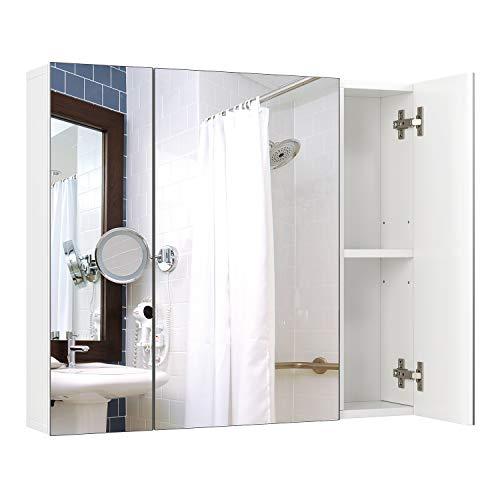 Homfa Spiegelschrank 70x15x60cm mit 3 Türen und verstellbaren Einlegenböden Hängeschrank Wandschrank Badezimmerschrank Badschrank mit 3 Spiegeltüren aus Holz weiß