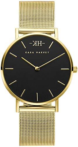 Kara Harvey donna Orologio da polso Grace Oro Acciaio inossidabile al quarzo analogico nero a maglie da 36 mm