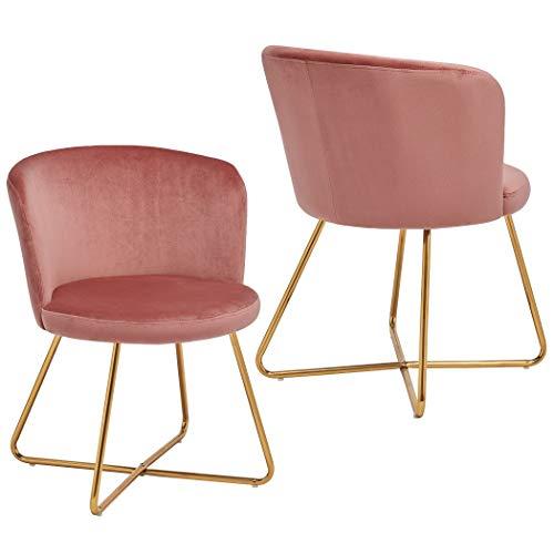 Duhome 2X Sedia da Sala da Pranzo Rosa Tessuto (Velluto) Sedia Imbottita Design Retro Vintage con Piedini in Metallo Sedia di Sala d'attesa conferenza Selezione Colore 8076X