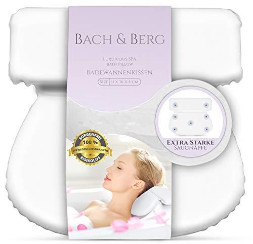 Bach & Berg Badewannenkissen   Weiches Badekissen für eine traumhafte Zeit in der Badewanne oder im Whirlpool mit Nackenkissen   Wannenkissen mit starken Saugnäpfen zur Erholung im Home SPA  
