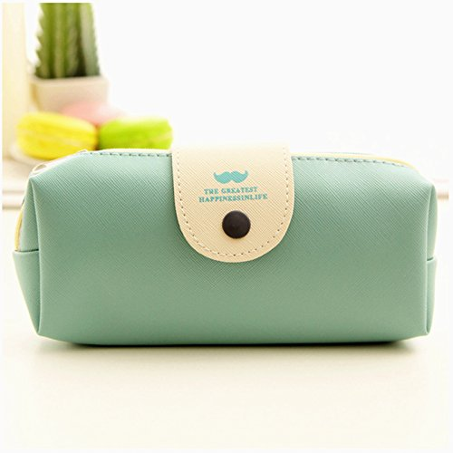 Astuccio in pelle PU di design semplice multifunzionale cancelleria Storage Bag cute green