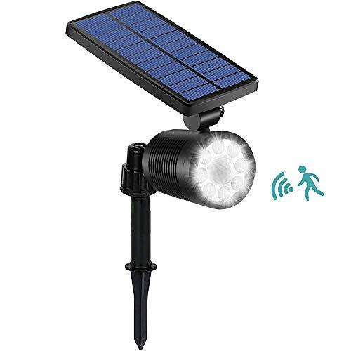 Ubitree Luci Solari esterno 8 LEDs Luce Solare del Giardino con Sensore di Movimento Impermeabile 4...