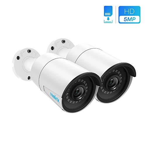 REOLINK IP Poe Videocamera di Sicurezza da 5MP Super HD Supporto Audio Bullet Sorveglianza Esterno Casa IR Impermeabile con Visione Notturna Rilevamento Movimento RLC-410-5MP (Pack di 2)