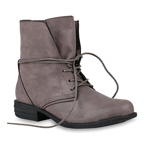 6aec21d37761d1 Damen Stiefeletten Worker Boots Leder-Optik Knöchelhohe Stiefel Camouflage  Bockabsatz Gr. 36-42 Schuhe 146646 Grau Schwarz 38 Flandell