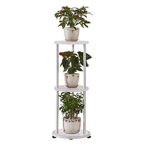 HY Flower Stand-Pot Rack Legno a Tre Strati con Pavimento in parquet Verde (Color : White)