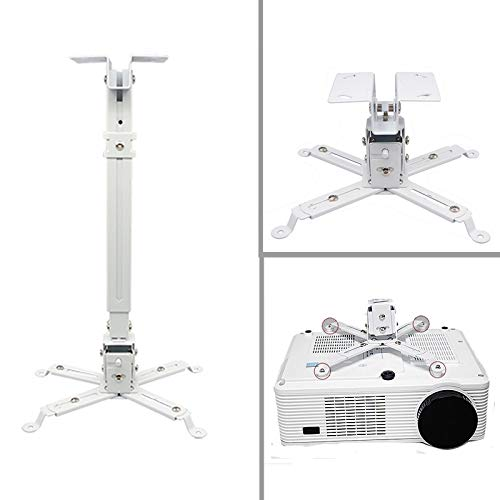 AlexVyan Universal Heavy Duty 3 Feet (24 inch to 36 inch) Adjustable Projector Ceiling and Wall Mount Kit Bracket Stand with Tilt Option- White (Weight Capacity - 15kgs)