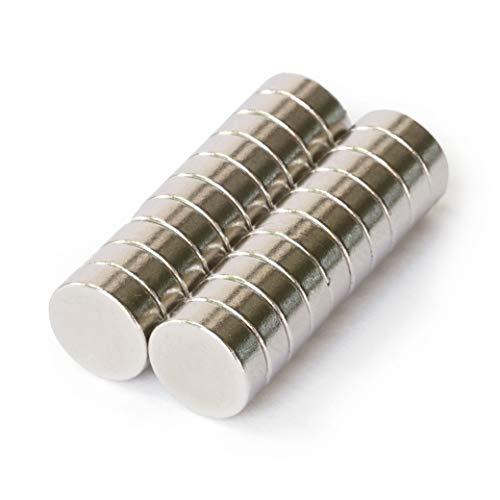 OfficeTree 20 Mini magneti al neodimio, 8 x 3 mm, rotondi, tenuta extra forte su lavagna magnetica,...