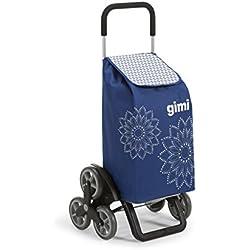 Gimi Tris Carro de la compra, con 6 ruedas, Bolsa impermeable de poliéster, capacidad de 56 litros, Floral Azul, 41 x 51 x 102 cm