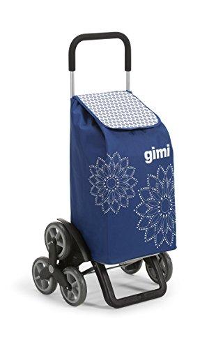 GIMI Tris Floral Carrello Portaspesa, Sistema 3+3 Ruote, Saliscale, Portata 30 kg, Acciaio/Tessuto,...