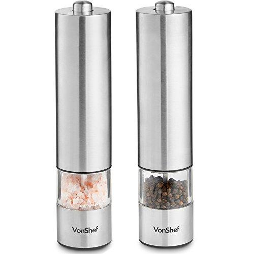 VonShef 2-er Set elektrische Salz- und Pfeffermühle - Bedienung per Knopfdruck, leicht zu befüllen & verstellbares Mahlwerk