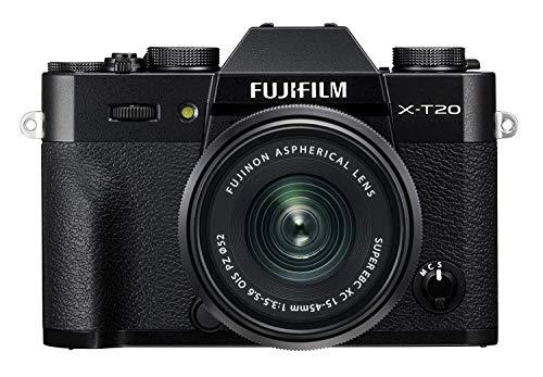 Fujifilm X-T20 Black Fotocamera Digitale 24MP con Obiettivo XC15-45mm F3.5-5.6 OIS PZ, Sensore CMOS X-Trans III APS-C, Mirino EVF, Schermo LCD Touchscreen 3' Orientabile, Filmati 4K, Nero