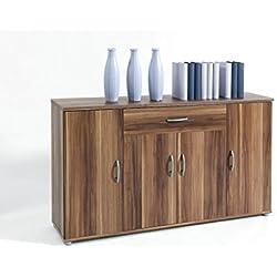 Sideboard Kommode Anrichte Mehrzweckschrank Highboard Schrank Lilly 13 Varianten mit 4 Türen, 1 Schubkasten und 3 Regalböden, 117 cm breit (Walnuss / Nußbaum)
