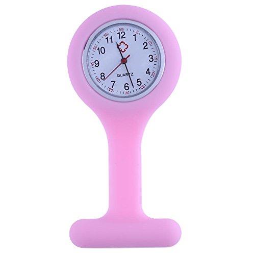 Everpert Orologio da taschino per infermieri con cinturino in silicone rosa