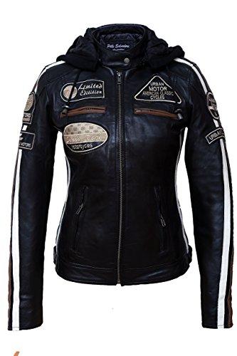 Urban Leather UR-153 58 Giacca Moto da Donna con Imbottitura Protettiva, Nero, Taglia M