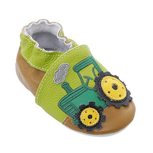 98/5000 Morbide Scarpe da Bambino in Pelle con Mocassini Suede Suede per Neonati Toddlers Ragazzi Ragazze Prewalker Shoes (12-18 Mesi, Trattore Verde)
