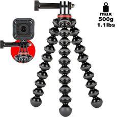 JOBY GorillaPod 500 Action - Trípode Mini Flexible con Junta de Pin para GoPro, 360 y Otras Cámaras de Acción, Peso hasta 500 g, JB01516-BWW