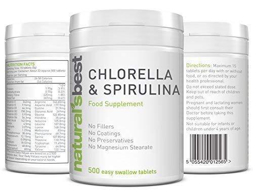 Chlorella (Parete Cellulare Rotto) e Spirulina Integratore Alimentare 500mg Compresse - Facile da Inghiottire - Clorofilla e Ricco di Proteine Alghe Integratori - 500 Compresse da Naturale'S Best