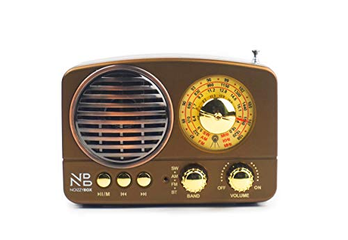 Noizzy Box Retro XS Vintage Classic Portable Bluetooth Speaker with LED Light/Display/FM Radio/Support Micro TF SD Card/USB Input, AUX Line-in (Brown)