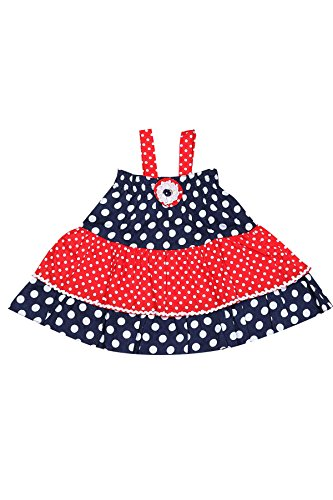 Littleopia Baby Girl's A-Line Dress (L05-AR-165-F,Navy Blue and Red,18-24 months)