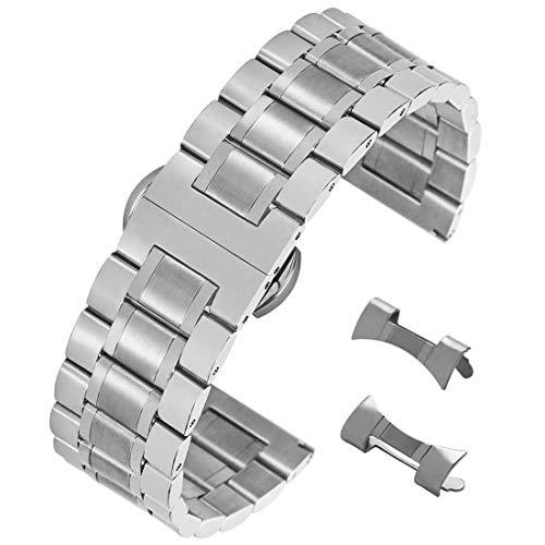 18 millimetri superba braccialetto cinghia della vigilanza acciaio inossidabile 304 solido con collegamenti rimovibili chiusura a farfalla in argento