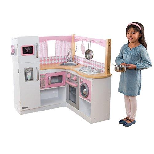 KidKraft- Grand Gourmet Cucina Giocattolo ad Angolo, Colore Rosa e Bianco, 53185