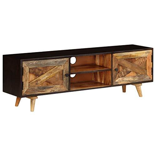 Festnight- Mobile Porta TV Vintage, Mobile Porta TV in Legno Massello di Mango 140x30x45 cm