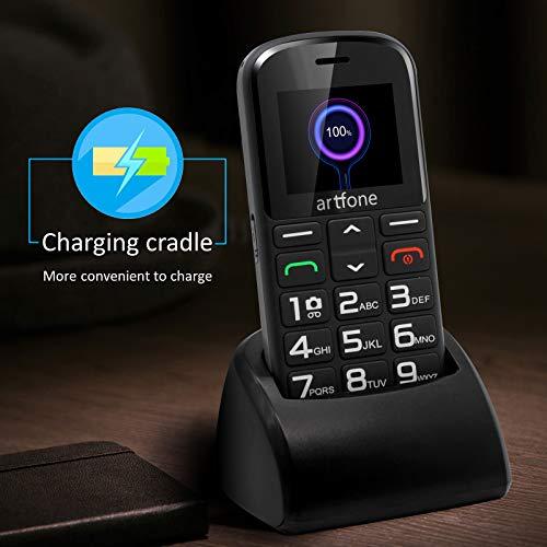 Artfone GSM téléphone Senior Portable Débloqué avec Grandes Touches, Bouton SOS, 1400mAh Batterie 6