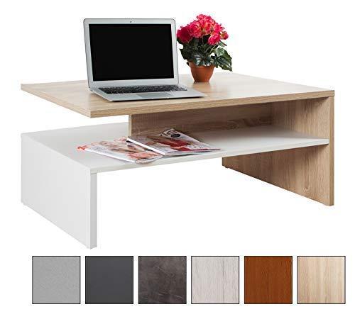 RICOO Tavolino Basso da Divano da Soggiorno Design WM080-W-ES Tavolo da Salotto Giorno Mobile da...